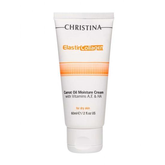 Christina Увлажняющий крем с витаминами А, Е и гиалуроновой кислотой для сухой кожи «Эластин, коллаген, морковное масло», 60 мл